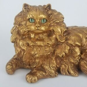 Vtg Gold Cat Progressive Art Chalkware Figurine Sculpture Ceramic Pottery 15in