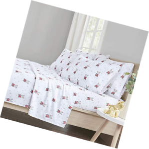 Bed Sheets Set Queen - Cute Bulldog 6 Piece 100% Cotton Flannel Printed Sheet Be