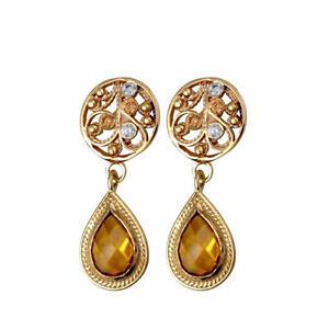 New-14K-Yellow-Gold-Citrine-Lavender-Gemstones-Filigree-Round-Drop-Stud-Earrings
