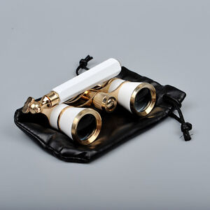 3x25 Opera//Theater Glasses Brass Binoculars Coated Optic Lens With Handle White