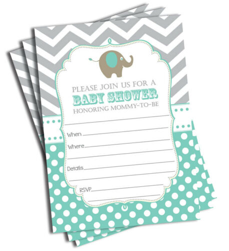 50 Elephant Baby Shower Invitations Invites Mint 5 x 7 Pack of 50 with Envelopes