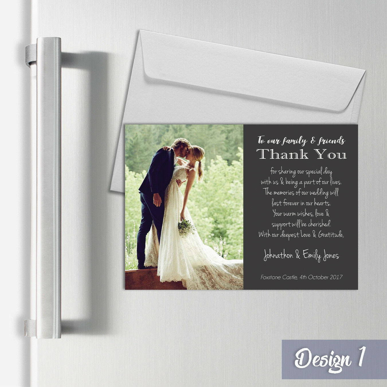 Personalised Magnetic Wedding Thank You Cards With Fridge Photo A7