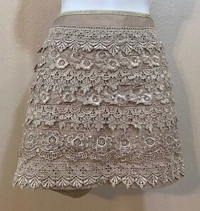 da66f1b0389a Women's New Tan Lace Layered Mini Skirt by Sans Souci (04019) | eBay