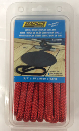 "Seachoice Double Braided Boat Marine Nylon Dock Line Rope 3//8/"" x 15/' Red 39721"