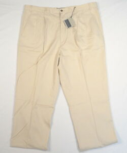 Cutter-amp-Buck-Beige-Pleated-Front-Casual-Pants-46-X-42-Tall-Men-039-s-NWT