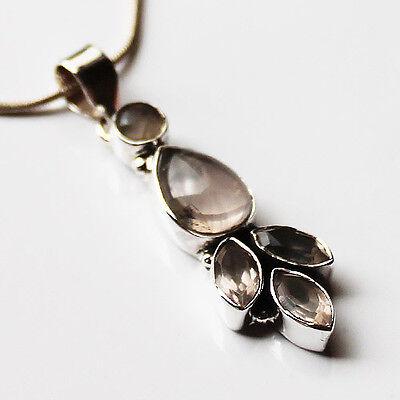 925 Sterling Silver Semi-Precious Natural Stone Pendant - Rose Quartz & Garnet