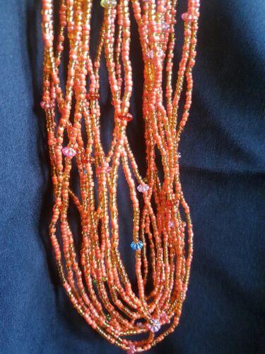 African Girovita Perle 3 fili Pea Set d'oro, arancio e muilticoloured