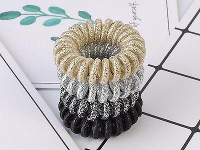10 Paillettes Tissu Spirale élastique cheveux chouchous Cordon Téléphonique queue de cheval 40 mm
