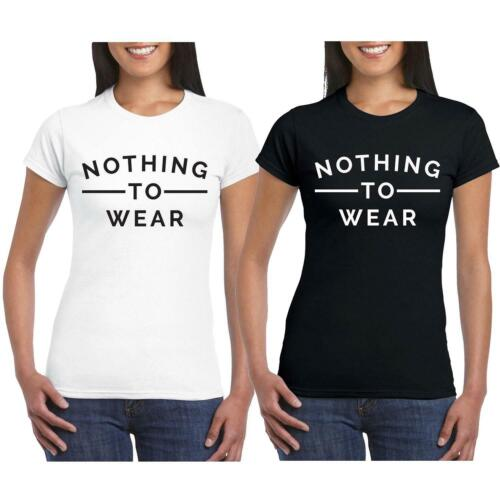 Womens Short Sleeve Casual Nothing To Wear Slogan Print T Shirt Top 8-26