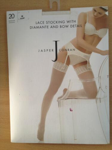 Jasper Conran Lace Stockings With Diamante Bow Detail Ivory L BNIB UW37//11