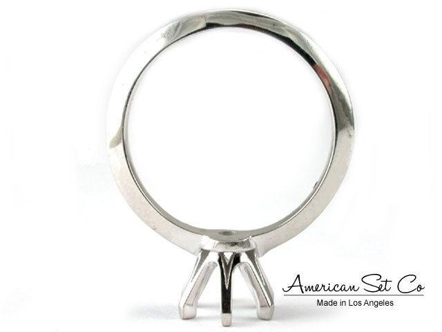 Palladium Semi Mount Solitaire Setting Round Diamond Engagement Ring Women
