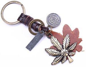 Aupra-Ganja-Hierba-KEYRING-Cuero-marihuana-Llavero-Llavero-Regalo-Cannabis