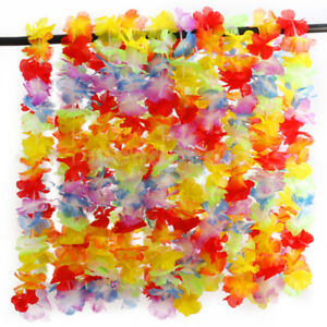 10pcs-Hawaiian-Tropical-Plage-Theme-Luau-Fete-Fleur-Lei-Leis-Collier-Garland