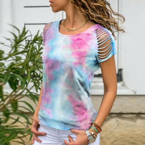 Women Cold Shoulder Tie-dye T Shirt Tops Ladies Casual Summer Blouse Tee Holiday
