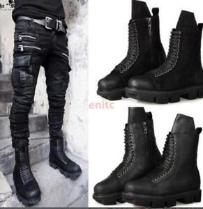 38d2dc08fe Image is loading Punk-Gothic-Leather-Suede-Platform-Shoes-Mens-Desert-
