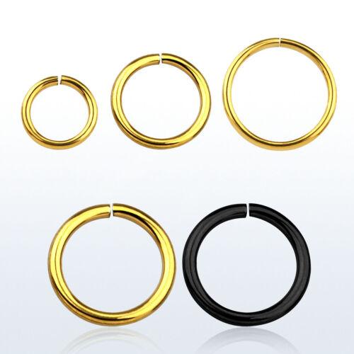 18G Gold or Black IP Seamless Nose Hoop Ring Septum Cartilage Earrings