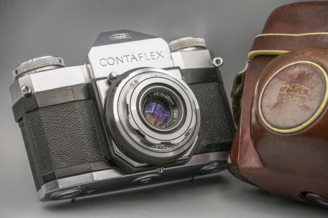 Zeiss Ikon Contaflex I 1274/24 Tessar 2,8/45mm analoge Kamera + Original Case