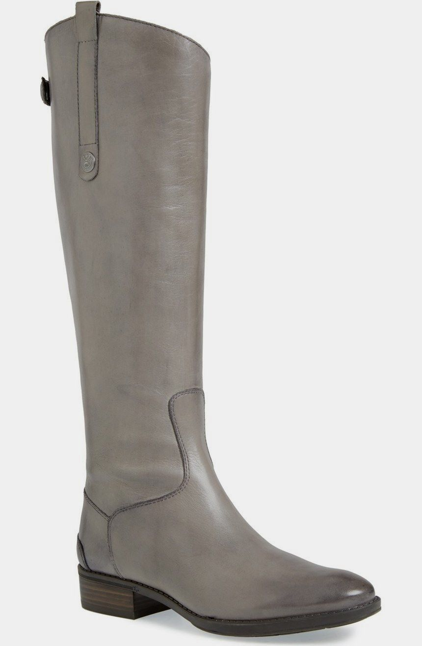 SAM EDELMAN  GREY LEATHER PENNY 2 WIDE CALF RIDING BOOTS  6