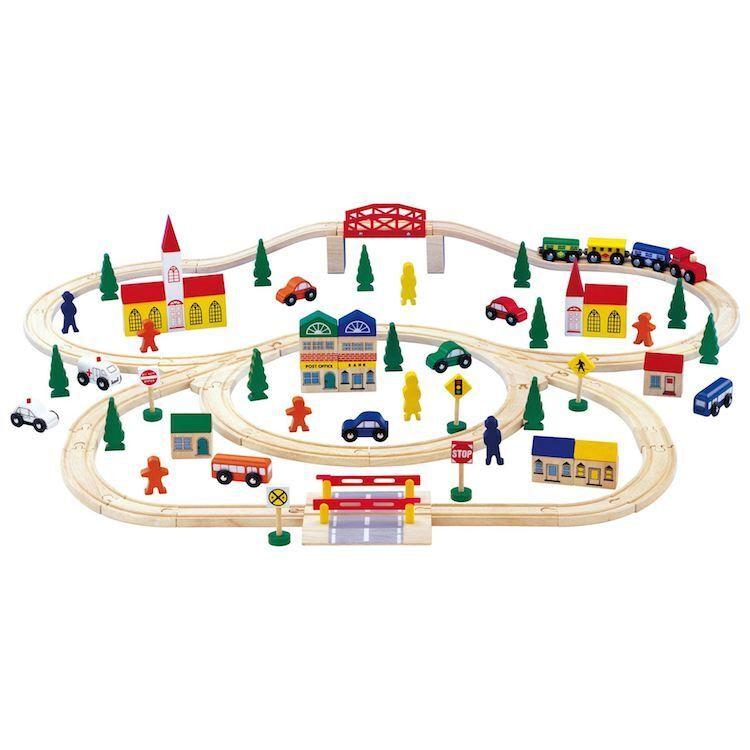 Grande trenino pista in legno con accessori, gioco per bambini