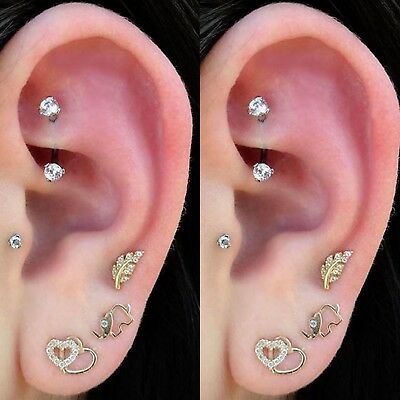 Curved Barbell CZ Rook Earring Eyebrow Jewelry Eyebrow Ring Titanium Rook Barbell Earring Body Piercing Jewelry
