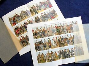 TWO-ORIGINAL-OLD-PRINTS-MILITARY-UNIFORMS-MEYERS-1909