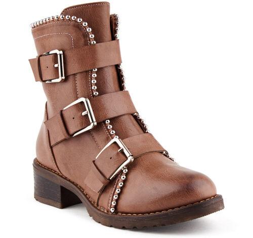 Neu Damen Stiefeletten Boots Stiefel Schnalle Kunstleder