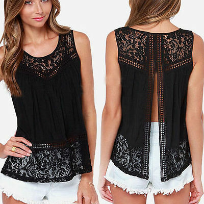 Womens Fashion Sexy Lace Sleeveless T-shirt Vest Floral Blouse Tee Tank Tops