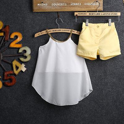 2PCS Kids Baby Girl Chiffon Woven Straps Tops Shirt Hot Shorts Outfits set 2-11Y
