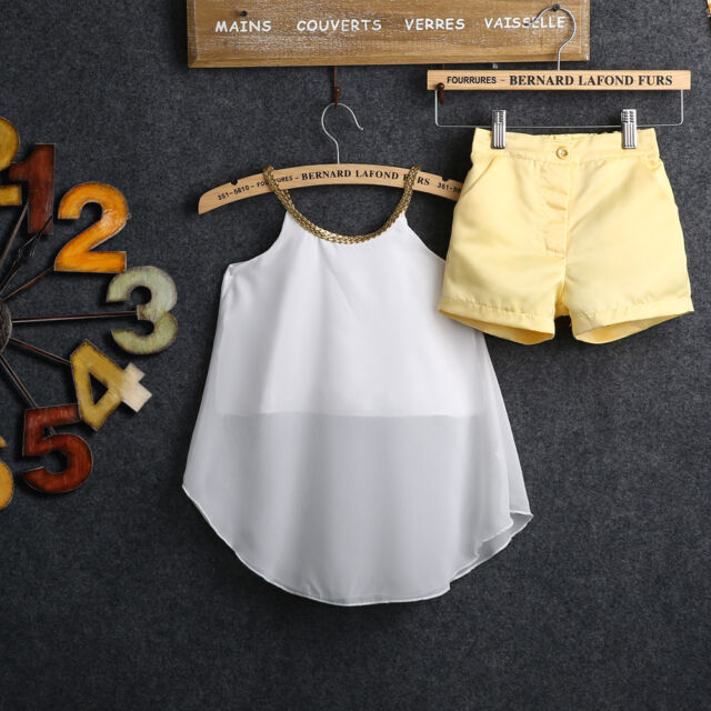 2PCS Chiffon Kids Baby Girls Woven Straps Tops Shirt Hot Pants Outfits Age 2-11Y