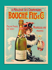 vintage retro style French champagne poster image metal sign wall door plaque