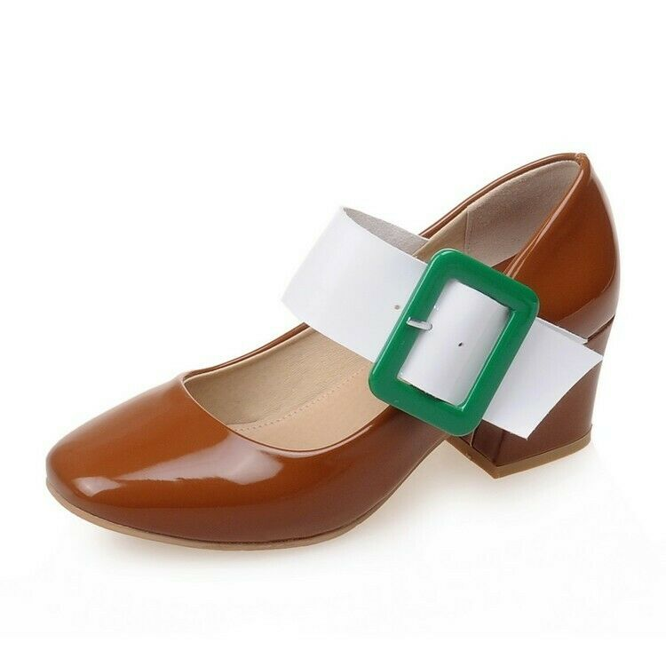 Woemns British Style Ankle Strap Block Block Block Heels Court shoes Square Toe Med Heels Sz 06a288