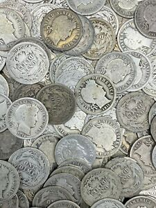 (5) Barber Dimes 90% Silver 1892-1916 Lot of 5 Dimes 50 Cents Estate Sale Dollar