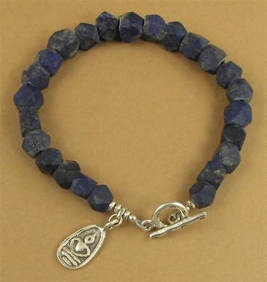 Sterling silver.Handmade Lapis lazuli chunky bracelet Buddha charm Unpolished