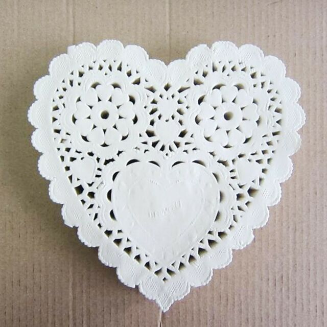 "10pcs 5"" /14cm Heart Lace Doilies paper for Party craft Scrapbooking Ivory Cream"