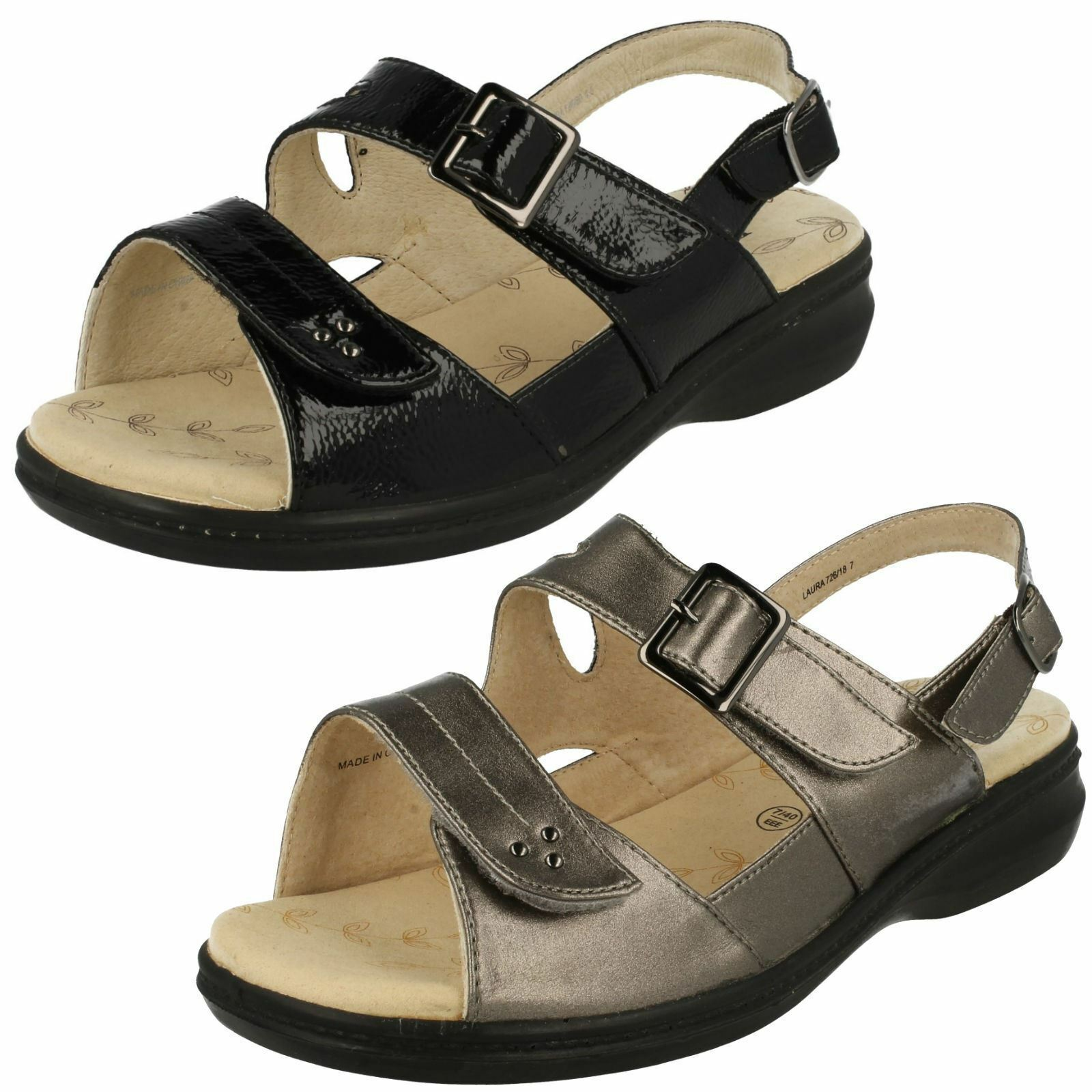 LADIES PADDERS LAURA EXTRA WIDE OPEN TOE BUCKLE FASTEN CASUAL SUMMER SANDALS