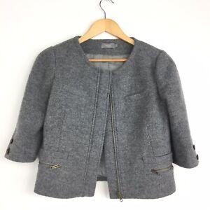 Hoss-Intropia-Grey-Wool-Short-Boxy-Blazer-Jacket-60s-Jackie-O-Preppy-Smart-10-36