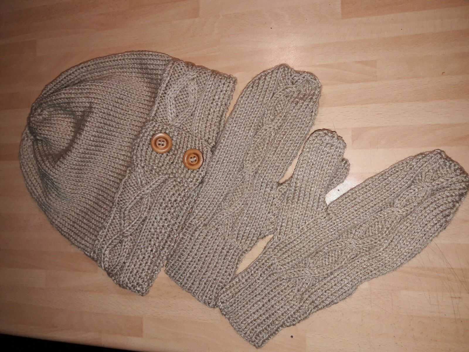 hand knitted cable hat and mittens set