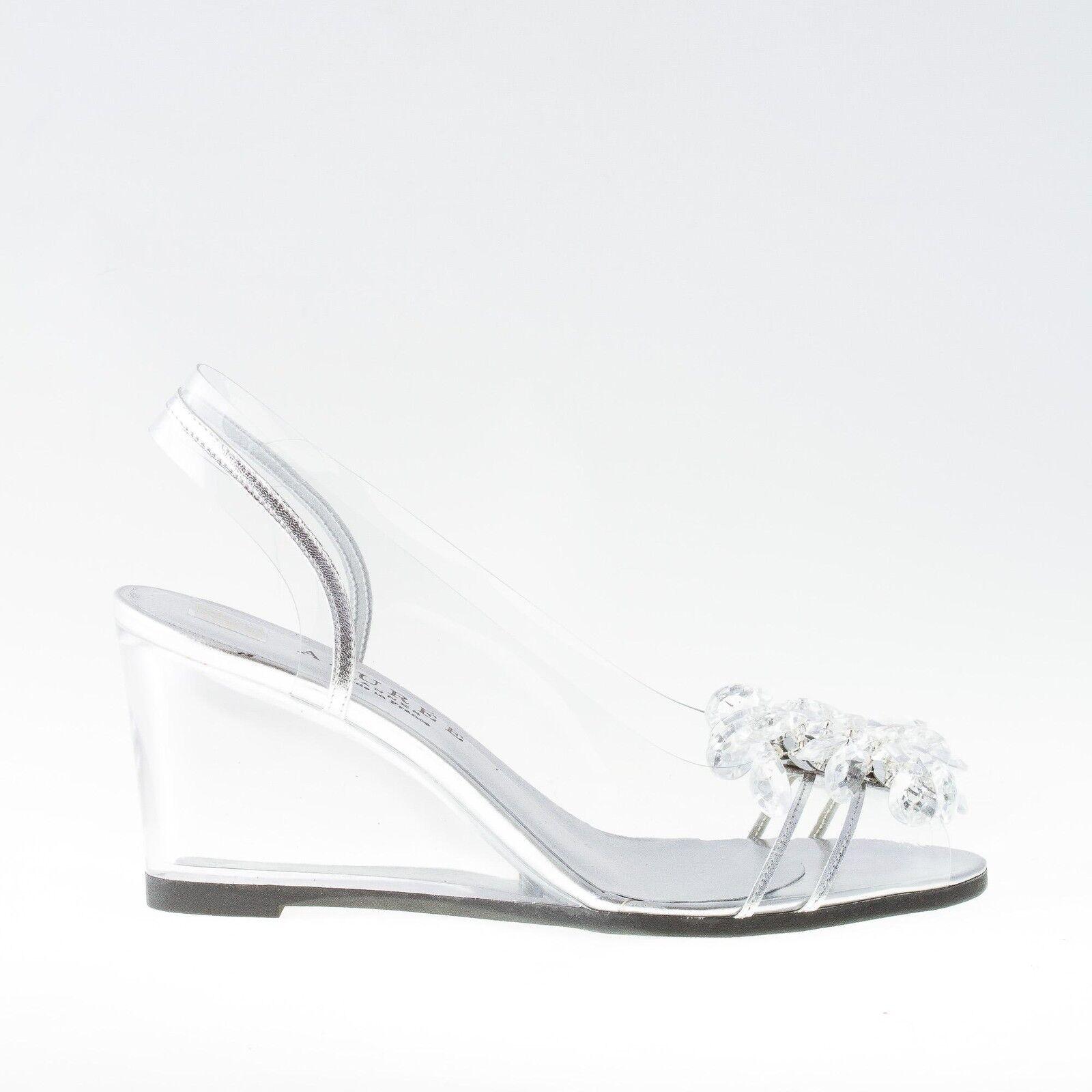 AZUREE Cannes Chaussures femmes Transparent nuago Sandal argent Leather and Stones