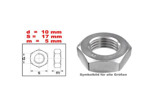 FM-M10x1,25 Muttern M10 x 1,25 FEINGEWINDE-niedrige Form  Edelstahl A2-DIN 437