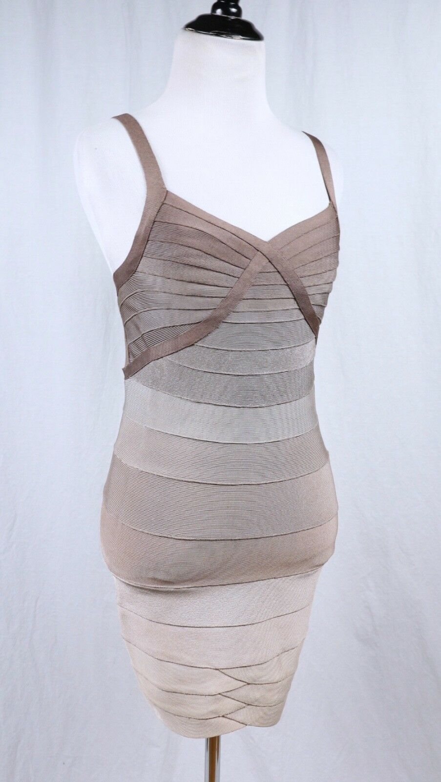 HERVE LEGER Brown Tan Beige Stripe Bodycon Dress Dress Dress Sz US XS X Small Authentic f5a66b