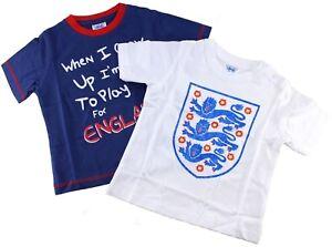 ENGLAND-2-Pk-Football-Fan-T-SHIRT-Top-Vest-THREE-LIONS-Toddler-Supporter-2-4-Yrs