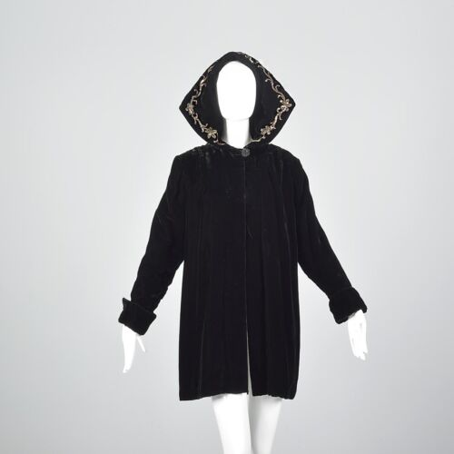 1940s Sequin Hood Black Velvet Loose Autumn Winter