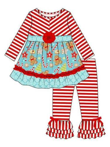 Counting Daisies by Rare Editions Red Turquoise Gingerbread Pants Set  2T 3T 4T
