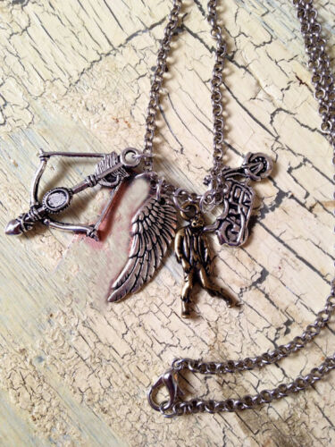 the walking dead inspired Necklace zombies wing arrow and bows Daryl neckalce