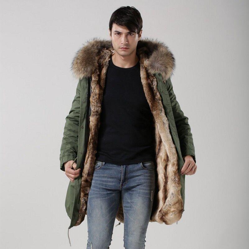 MP5 Real Fur Collar Hooded Long Coat Winter Autumn Loose Fit Mens Parka