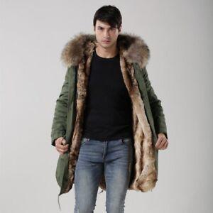 Détails sur MP5 fourrure véritable col à capuche long manteau d'hiver automne Coupe Ample Pour Homme Parka afficher le titre d'origine