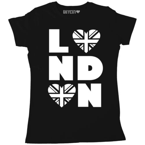 LONDON HEART PRINT WOMENS PRINTED T-SHIRT