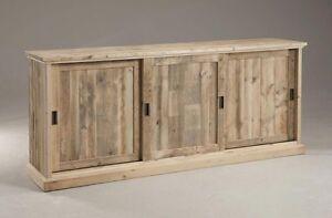 Mobile Comò madia credenza in legno massello 3 ante design Nature ...