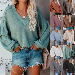 Women-T-Shirt-Long-Sleeve-Blouse-Tops-Ladies-Casual-Jumper-Pullover-Sweater-LIU