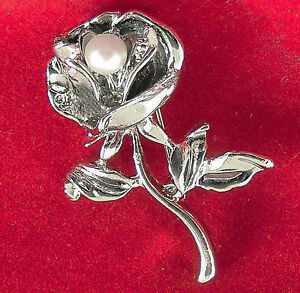 dcbd4913a206fa Vintage Flower Lapel Pin Floral Rose Bud Stem With Faux Pearl Silvertone  Brooch